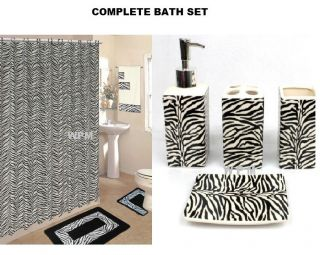 Set Black Zebra Animal Print Rugs Shower Curtain Towels
