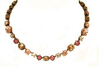 Andalusia Color Antique Gold Tone Peach Beige Salmon Jade Necklace by