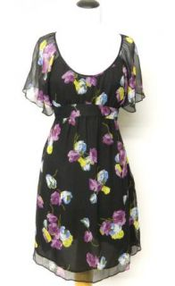 Ann Taylor Loft Size 6 Black Chiffon Purple Floral Dress Empire Lined