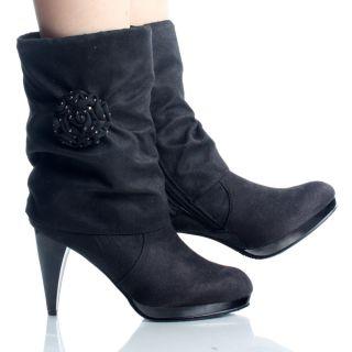 Cuff Rosette Designer High Heel Women Ankle Boot Sz 5 5