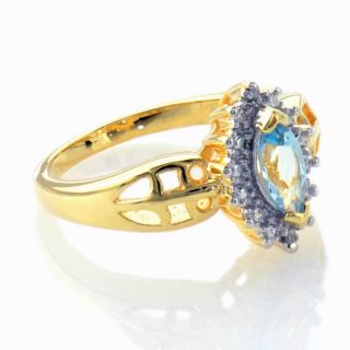 Blue Topaz Diamond Accent Filigree Womens Aniversary Ring Sz 7