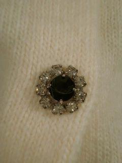 Ann Taylor L Cream Fuzzy Rhinestone Button Cardigan Sweater Top