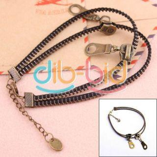 Metallic Statement Adjustable Bronze Zipper Anklets Bracelet