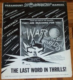 War of The Worlds Vintage Original George PAL Pressbook 1953 Sci Fi