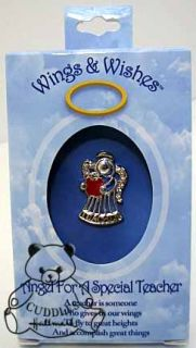 Teacher Angel Tac Pin Wings & Wishes Red Apple Metal Jewelry Religious