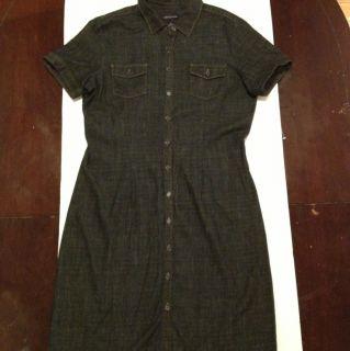 Ann Taylor Button Down Denim Jean Dress Dark Blue Size 12