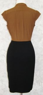 Ann Taylor Brown Black Stretch Dress 6P Looks Like Top Skirt 2 Piece