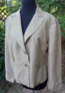 Ann Taylor Womens Linin Two Button Beige Jacket / Blazer size 10