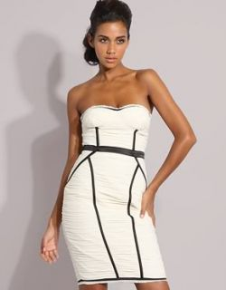 10 12 Strapless Ruched Cocktail Dress BEBE Black Cream Bandage
