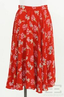 anna sui red multi color floral a line skirt size 6