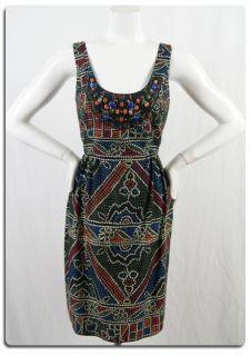 Anthropologie Anna Sui Black Printed Beaded Cotton Sheath Dress