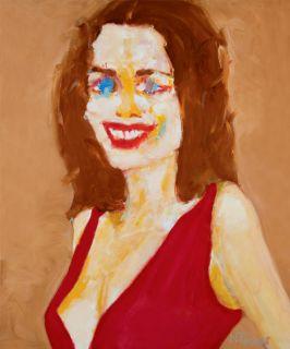 Anne Hathaway Portrait Original French Oil Painting Modern Fine Art by
