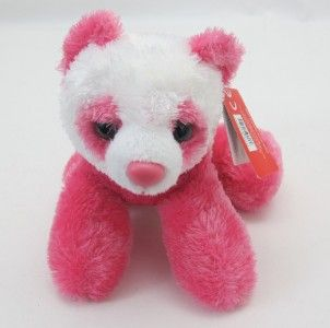 Bright Pink Panda Bear Mini Flopsie Stuffed Animal Toy New