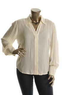 Anne Klein New Ivory Silk Long Sleeve Button Front Collar Blouse Top