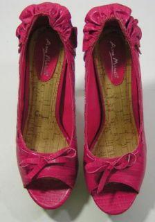 Anne Michelle Hot Pink Faux Leather Cork Platform Pumps New Womens