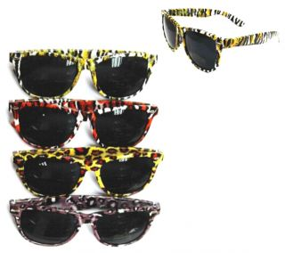 Animal Print Color Frame Sunglasses Sun Glasses Leopard Tiger Novelty