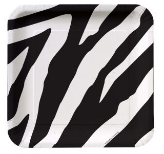 Black and White Zebra Animal Print Dessert Plates Party