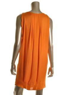 Anne Klein New Orange Cowl Neck Open Shoulder Silk Lined Casual Dress