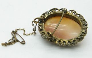 Very Pretty Vintage Art Deco Real Shell Cameo Brooch in A Filigree