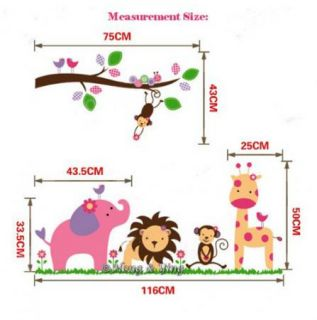90 60cm Animals Zoo Jungle Bird Branches Wall Sticker Decor Decals