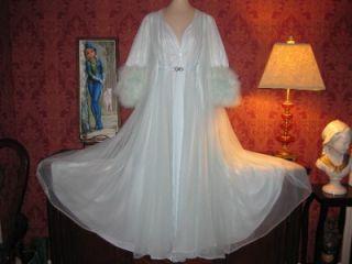 Vtg Lucie Ann Marabou Double Nylon Nightgown Gown Peignoir Robe Set