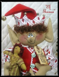 Primitive Christmas 22 Shamus Elf Toy Maker Elf Ginger Creek