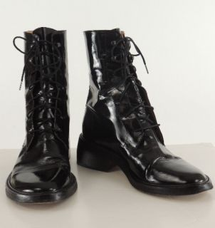 ANN DEMEULEMEESTER Black Patent Leather Laceup Ankle Boots 38
