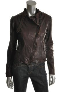 Andrew Marc New Brown Leather Cropped Long Sleeve Lined Jacket Coat XS
