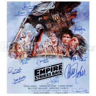 Star Wars Cast Signed Empire Strikes Back 27x40 Poster B Harrison Ford