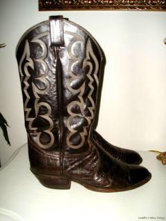 Vintage TONY LAMA No 8012 Brown Lizard & Leather Mens Cowboy Western