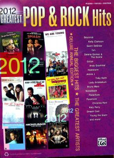 2012 GREATEST POP & ROCK HITS Song Book Piano Vocal Guitar FREE 53