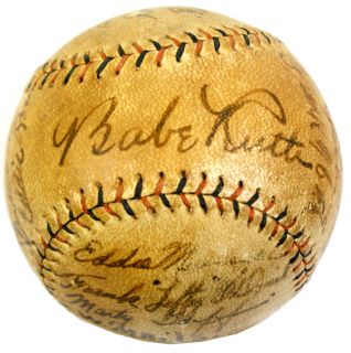1930 Barnstorming Baseball w Babe Ruth Lou Gehrig Signed Ball PSA DNA