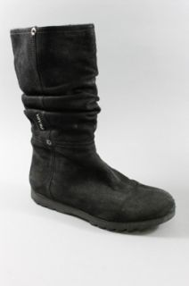 Auth Prada Sport Black Leather Slouchy Rubber Sole Mid Calf Boots Sz 8