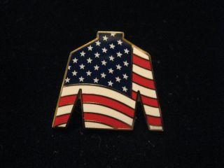 Thoroughbred Horse Racing American Flag Jockey Silk Tack Pin