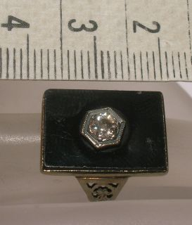 Antique 14K GOLD Old European Cut Diamond & ONYX RING Vintage Jewelry