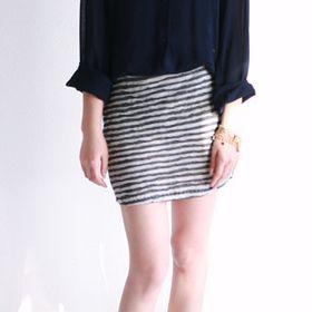 Chaser Fitted Stripe Mini Skirt Grey White