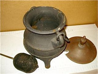 Antique Cast Iron & Brass Lid Kettle Fire Starter Pot w/ Pumice Wand
