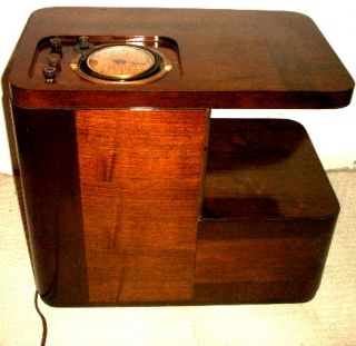 Antique Philco chairside vintage tube radio in wood cabinet restored