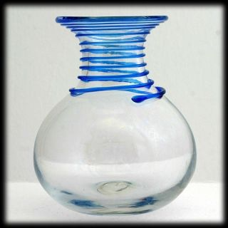 Blenko 8318 Art Glass Vase Crystal with Blue Applied Spiral Vintage