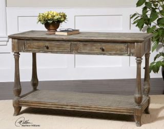 Old World Antique Style Sofa Table Solid Fir Wood Hand Waxed Limestone