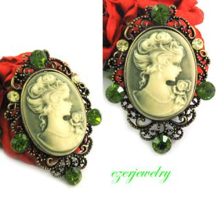 New Antique Style Green Cameo Crystal Pin Brooch P516