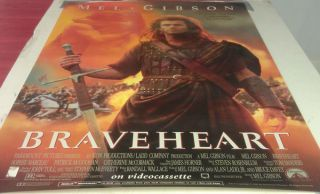 Braveheart DVD Movie Poster 1 Sided Original Rolled 27x40 Mel Gibson