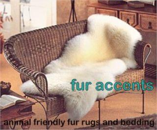 60 Fake Sheepskin Pelt Accent Rug Faux Fur Bear Throw Shabby Log
