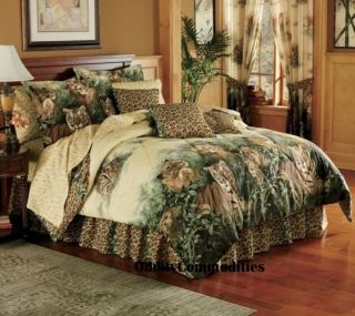 Tiger Leopard Safari Animal Print King Size Bed Comforter Set