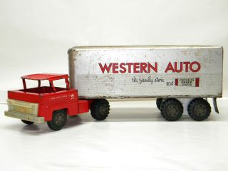 Antique Marx WESTERN AUTO Semi Truck Trailer Vintage Metal TOY Pressed