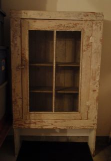 Early Primitive Paint Pine Antique Pie Safe Jelly Cupboard