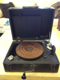 Vintage Antique Portable Record Vinyl Player in Case