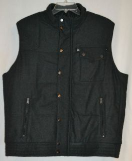 New Marc Anthony Mens Puffer Vest Wool Dark Gray Handsome Quality