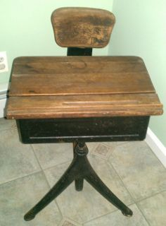 Rare Antique Vintage Wooden & Iron Childs Student School Desk