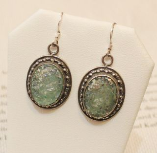 Vintage Roman Glass and Sterling Silver Earrings
